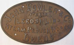 Steam traction engine or associated equipment works plate. JOHN FOWLER & CO No 6518 (LEEDS) LIMd.