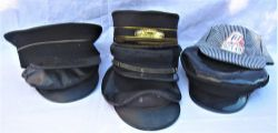 A Lot containing 7 x railway uniform caps of various designs which include 3 enginemans grease top
