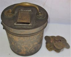 Office lockable pay check canister (unmarked) together with a collection of 30 x well used pay