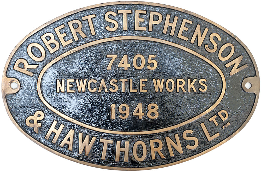 Lot 46 - Worksplate ROBERT STEPHENSON & HAWTHORNS LTD NEWCASTLE WORKS 7405 1948 ex 0-4-0 ST numbered 7 and