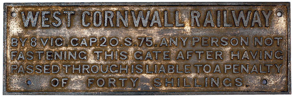 Lot 60 - West Cornwall Railway fully titled cast iron SHUT THIS GATE notice. Measures 29in x 10.5in and is in