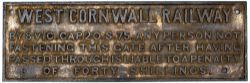 West Cornwall Railway fully titled cast iron SHUT THIS GATE notice. Measures 29in x 10.5in and is in