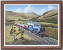 Original oil painting on canvas of Coronation 4-6-2 Pacific 46226 DUCHESS OF NORFOLK ON THE ROYAL