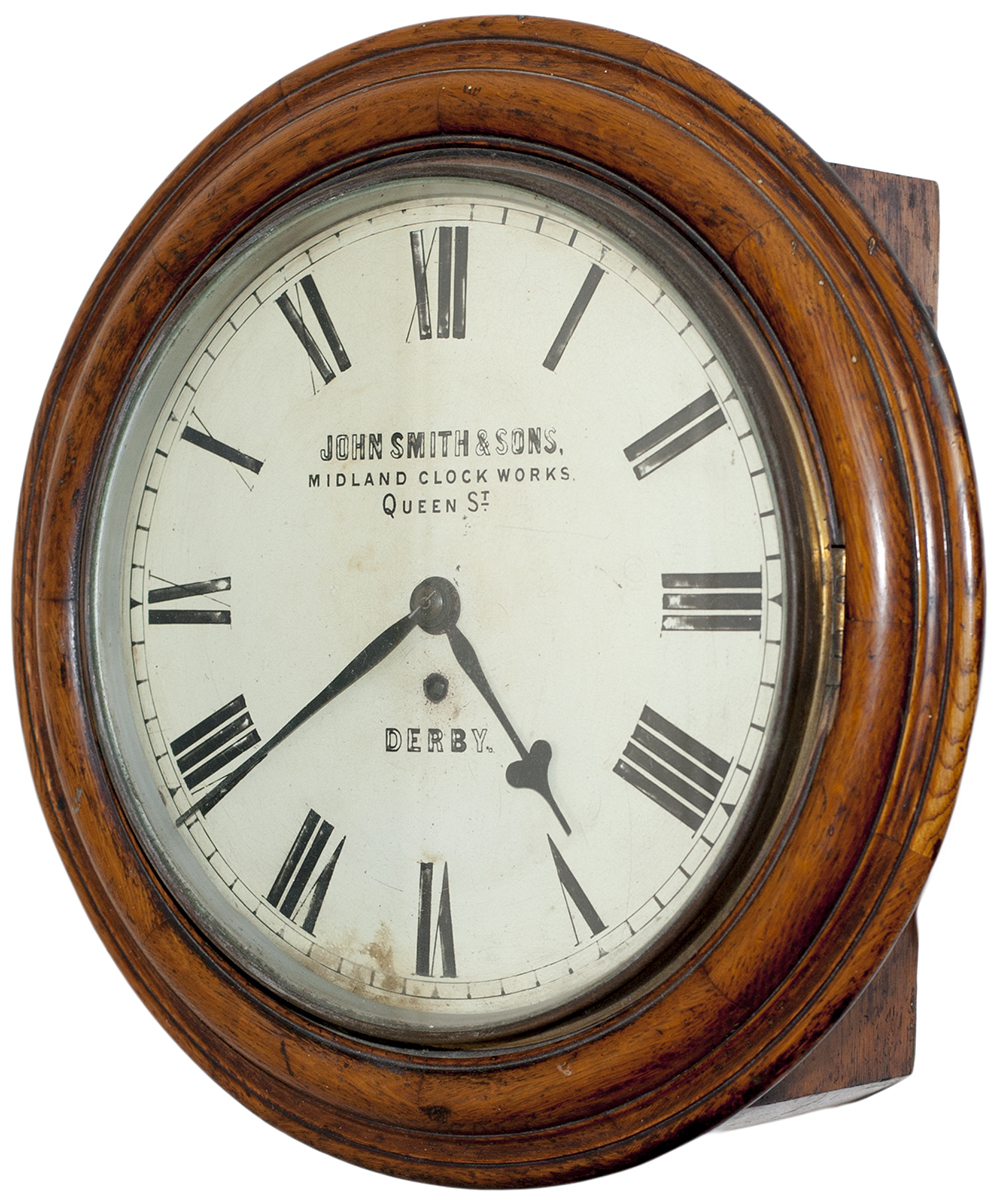 Lot 359 - Midland Railway oak cased 12in dial fusee Railway clock by John Smith & Sons of Derby. Circa 1870.