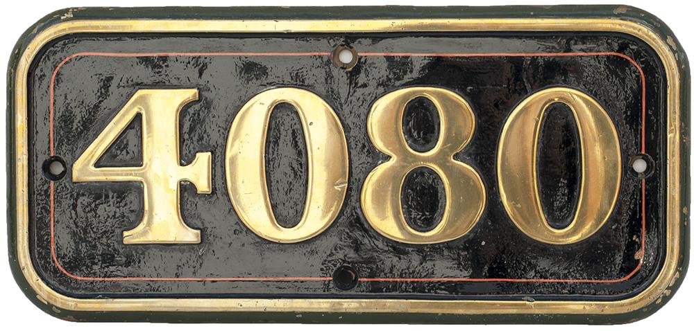 Lot 37 - GWR brass cabside numberplate 4080 ex Collett Castle 4-6-0 named POWDERHAM CASTLE built at Swindon