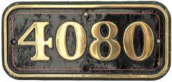 GWR brass cabside numberplate 4080 ex Collett Castle 4-6-0 named POWDERHAM CASTLE built at Swindon