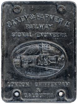 Saxby & Farmer signal equipment makers plate SAXBY & FARMER LD RAILWAY SIGNAL ENGINEERS LONDON