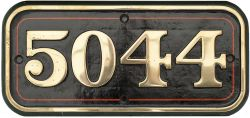 GWR brass cabside numberplate 5044 ex GWR Collett Castle 4-6-0 Earl Of Dunraven. Nicely face