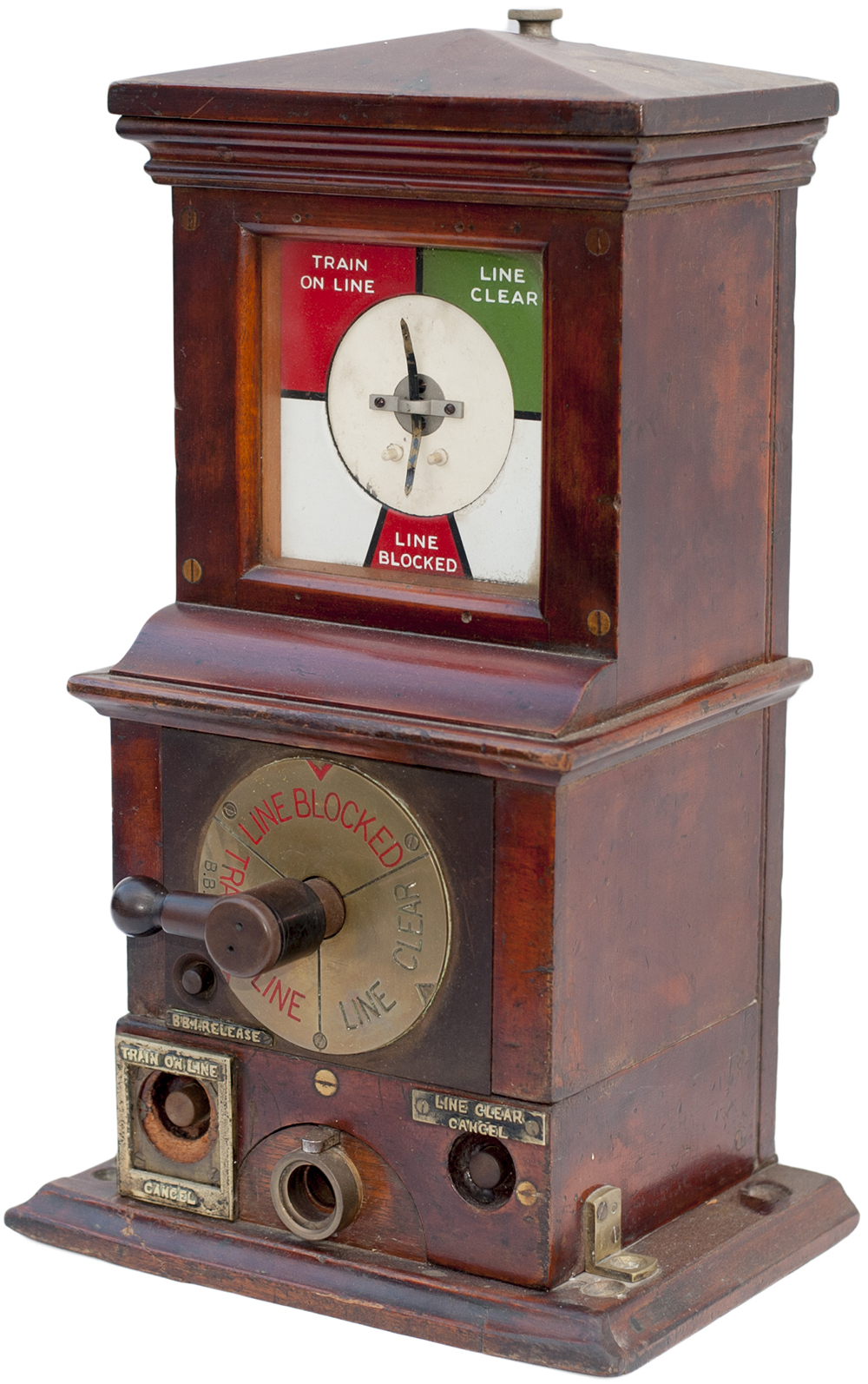 Lot 59 - Midland Railway mahogany cased Rotary Block Instrument stamped MRCo 1913 on the top. In ex railway