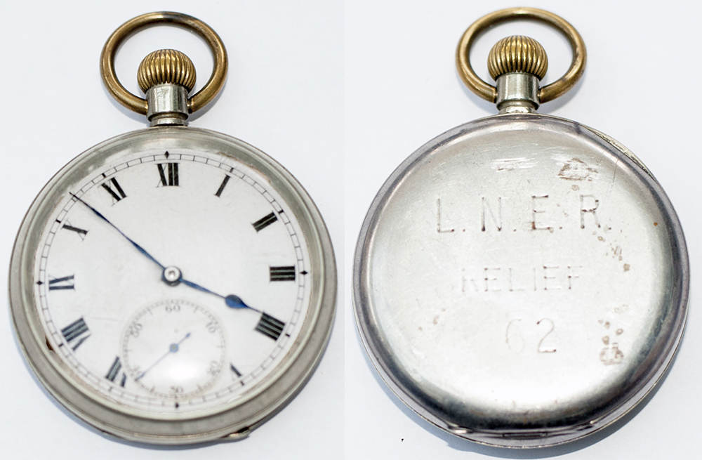 Lot 421 - London & North Eastern Railway nickel cased Railway Pocket Watch with top wind and top set Swiss