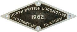 Diesel Cab Plate NORTH BRITISH LOCOMOTIVE COMPANY LTD GLASGOW 1962 ex British Railways Class 22
