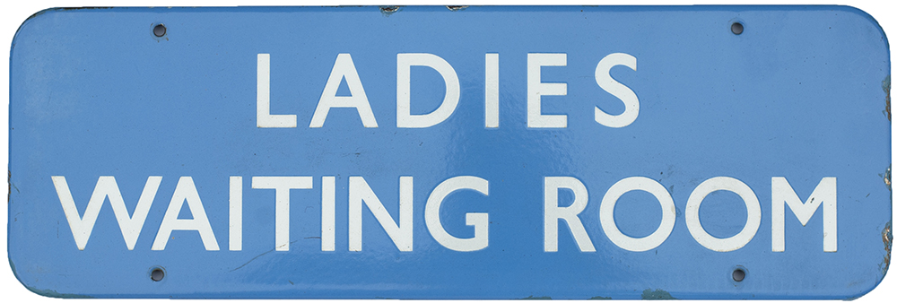 Lot 45 - BR(Sc) FF enamel doorplate LADIES WAITING ROOM measuring 18in x 6in. In good condition with minor