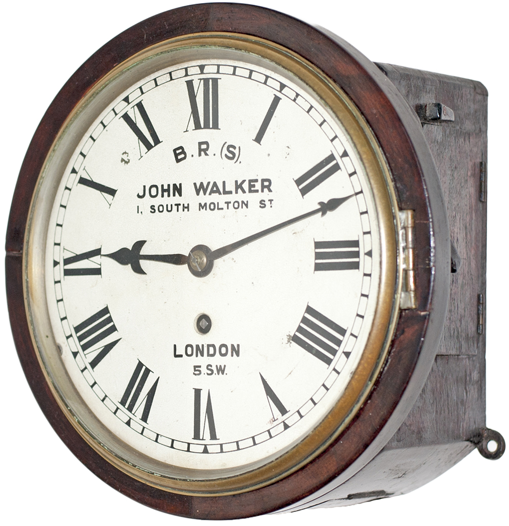 Lot 282 - London and South Western Railway 8 inch Mahogany cased iron dial fusee clock with a cast brass bezel