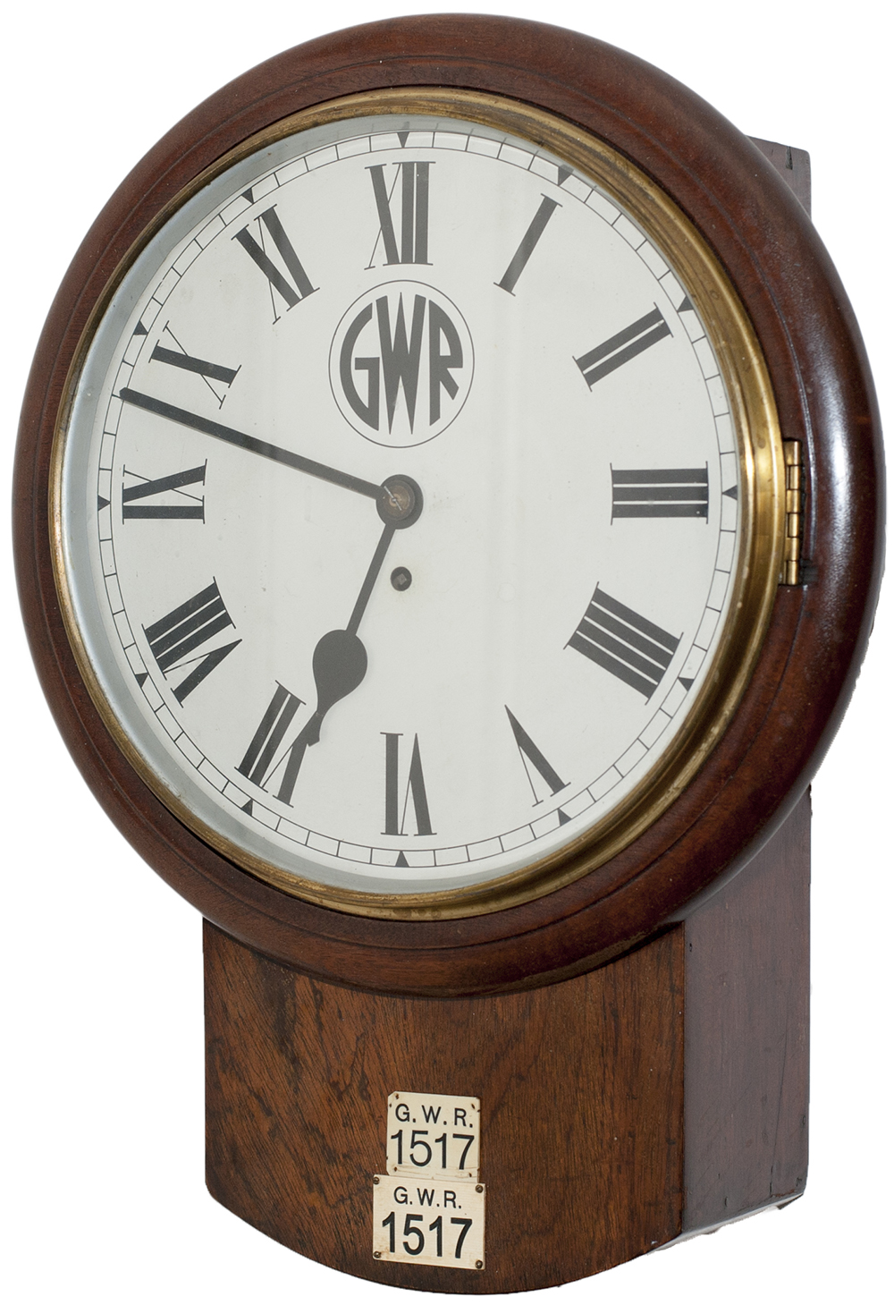 Lot 61 - Great Western Railway 12 inch mahogany cased drop dial fusee railway clock with a rectangular plated