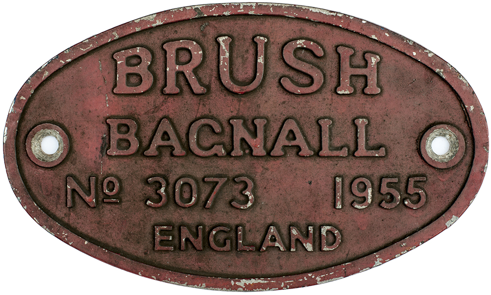 Lot 21 - Diesel worksplate BRUSH BAGNALL No 3074 1955 ex Diesel that worked at CWM Colliery, Beddau. Oval