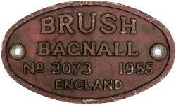 Diesel worksplate BRUSH BAGNALL No 3074 1955 ex Diesel that worked at CWM Colliery, Beddau. Oval