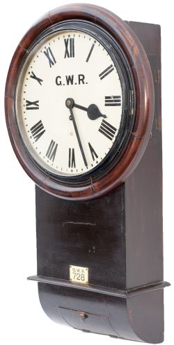 Great Western Railway 12 inch mahogany cased drop dial trunk fusee railway clock with a large
