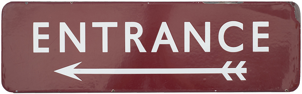 Lot 24 - BR(M) FF enamel sign ENTRANCE with left facing arrow. In good condition with a few edge chips.