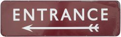 BR(M) FF enamel sign ENTRANCE with left facing arrow. In good condition with a few edge chips.