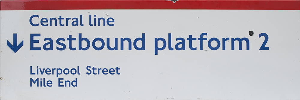Lot 55 - London Transport Underground FF enamel sign EASTBOUND PLATFORM 2 LIVERPOOL ST MILE END. In good