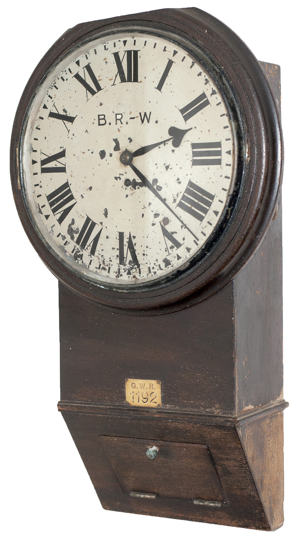 Lot 384 - Great Western Railway 12 inch teak cased drop dial chisel bottom fusee railway clock with a large