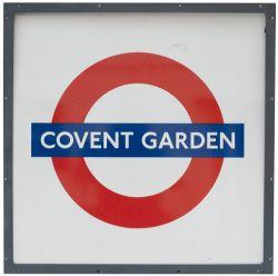 London Transport Underground rectangular enamel target/bullseye sign COVENT GARDEN. In very good