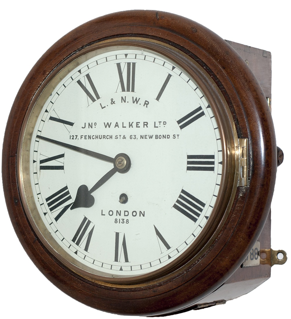 Lot 157 - London and North Western Railway 8in mahogany cased English fusee railway clock. The English fusee