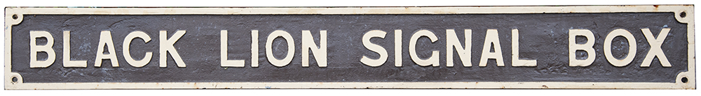 Lot 17 - GWR cast iron signal box board BLACK LION SIGNAL BOX from the former box near Aberfan. In nicely