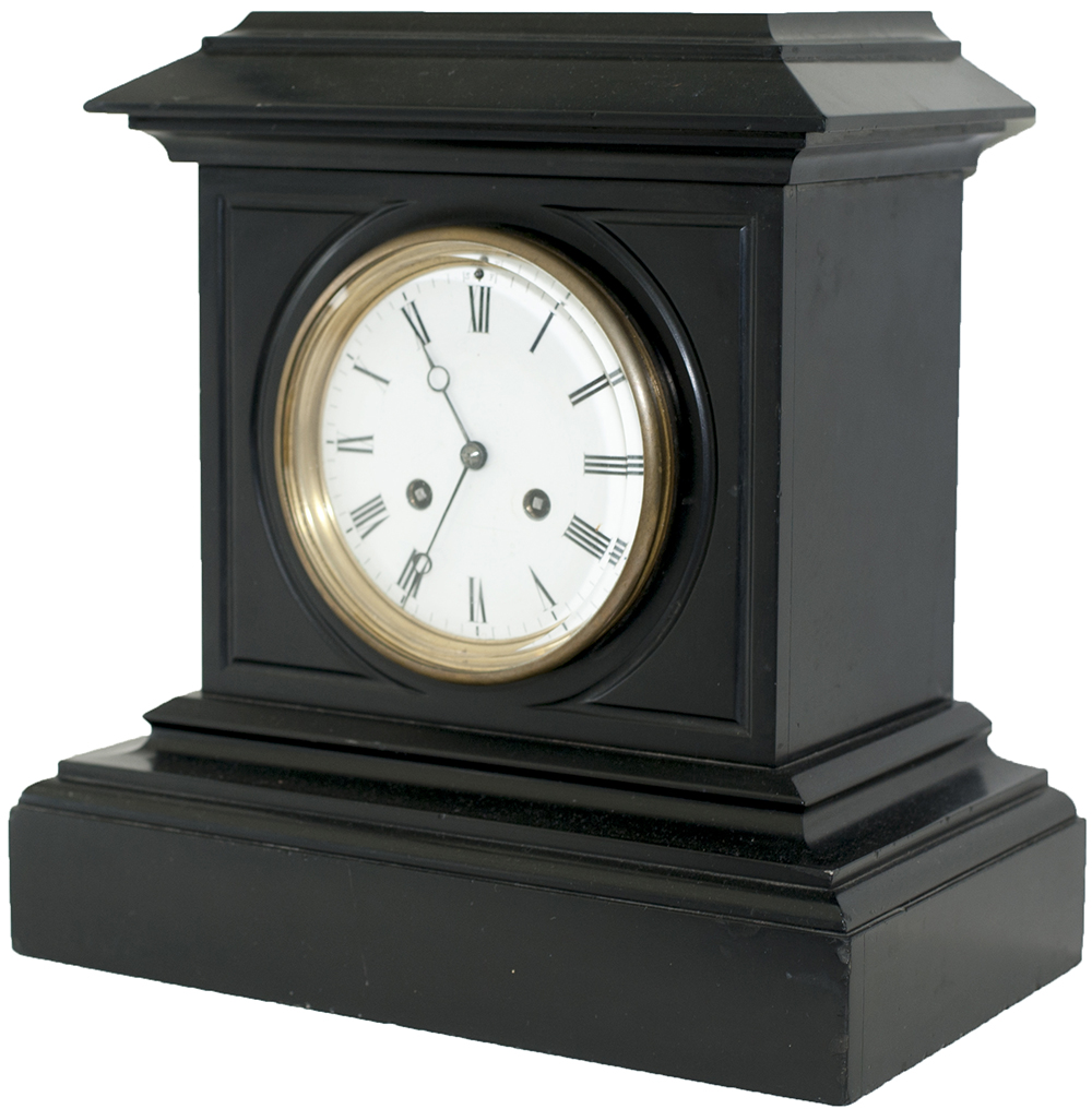 Lot 115 - London and North Western Railway 5in slate cased railway clock. The French twin going barrel