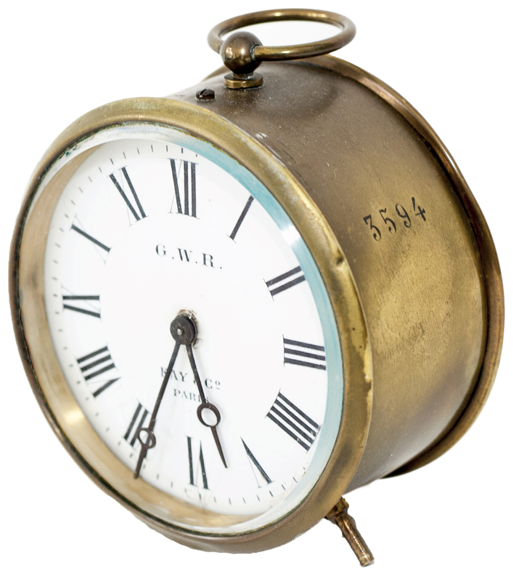 Lot 9 - GWR Brass drum railway clock with 3.5 inch enamelled dial GWR KAY & CO PARIS. Case, back and