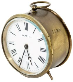 GWR Brass drum railway clock with 3.5 inch enamelled dial GWR KAY & CO PARIS. Case, back and