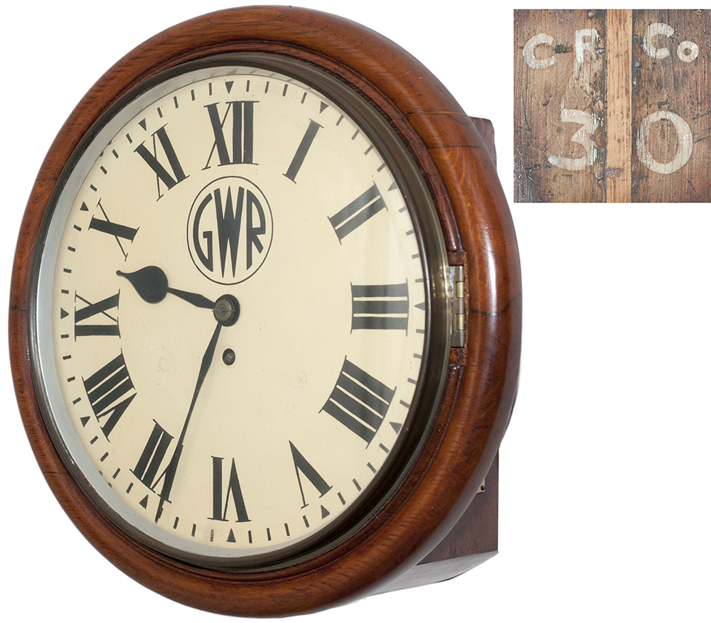 Lot 179 - Cardiff Railway 12in oak cased chain driven fusee railway clock. The oak case with eight piece