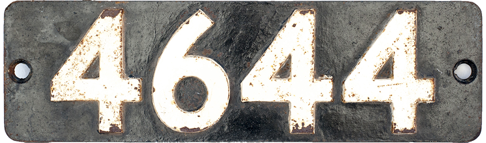 Lot 11 - Smokebox numberplate 4644 ex GWR Collett 0-6-0 PT built at Swindon in 1943. Allocations included