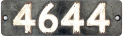 Smokebox numberplate 4644 ex GWR Collett 0-6-0 PT built at Swindon in 1943. Allocations included