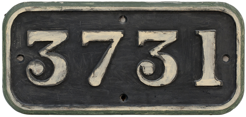 Lot 20 - GWR cast iron cabside numberplate 3731 ex Collett 0-6-0 PT built at Swindon in 1937. Allocations