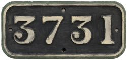 GWR cast iron cabside numberplate 3731 ex Collett 0-6-0 PT built at Swindon in 1937. Allocations