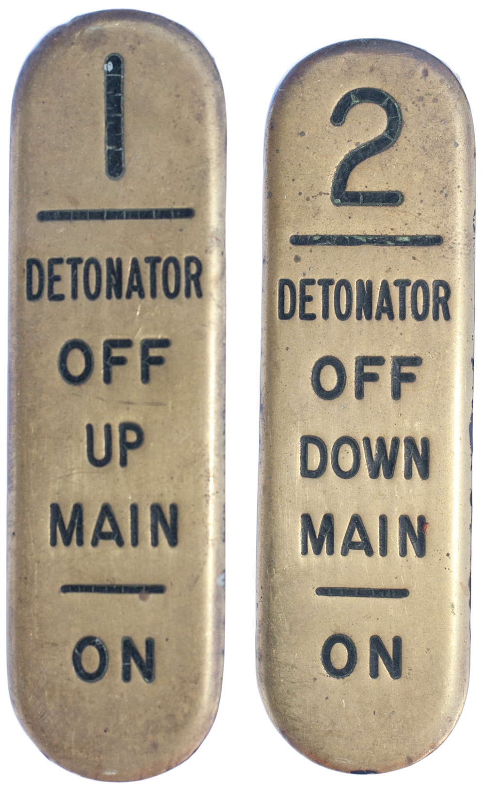 Lot 27 - GWR signal lever leads, a pair; 1 DETONATOR OFF UP MAIN ON, 2 DETONATOR OFF DOWN MAIN ON. These