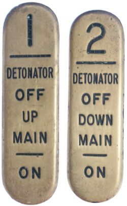 GWR signal lever leads, a pair; 1 DETONATOR OFF UP MAIN ON, 2 DETONATOR OFF DOWN MAIN ON. These