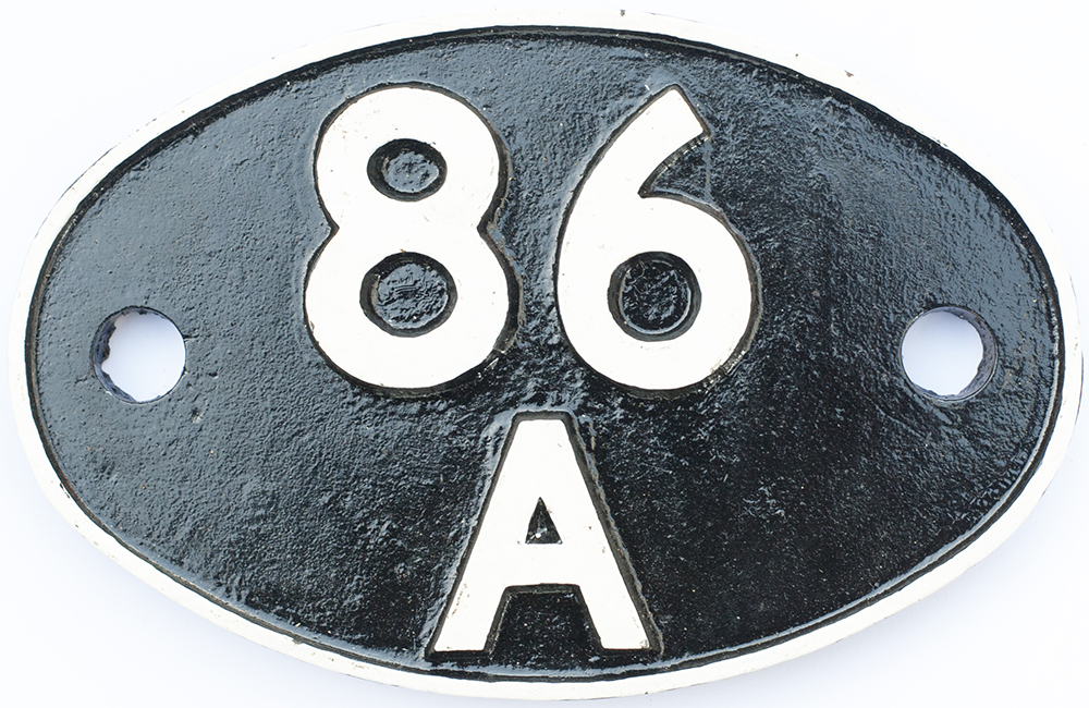 Lot 44 - Shedplate 86A Ebbw Junction 1950-1963 and Cardiff Canton 1963-1973. Face restored with clear Swindon