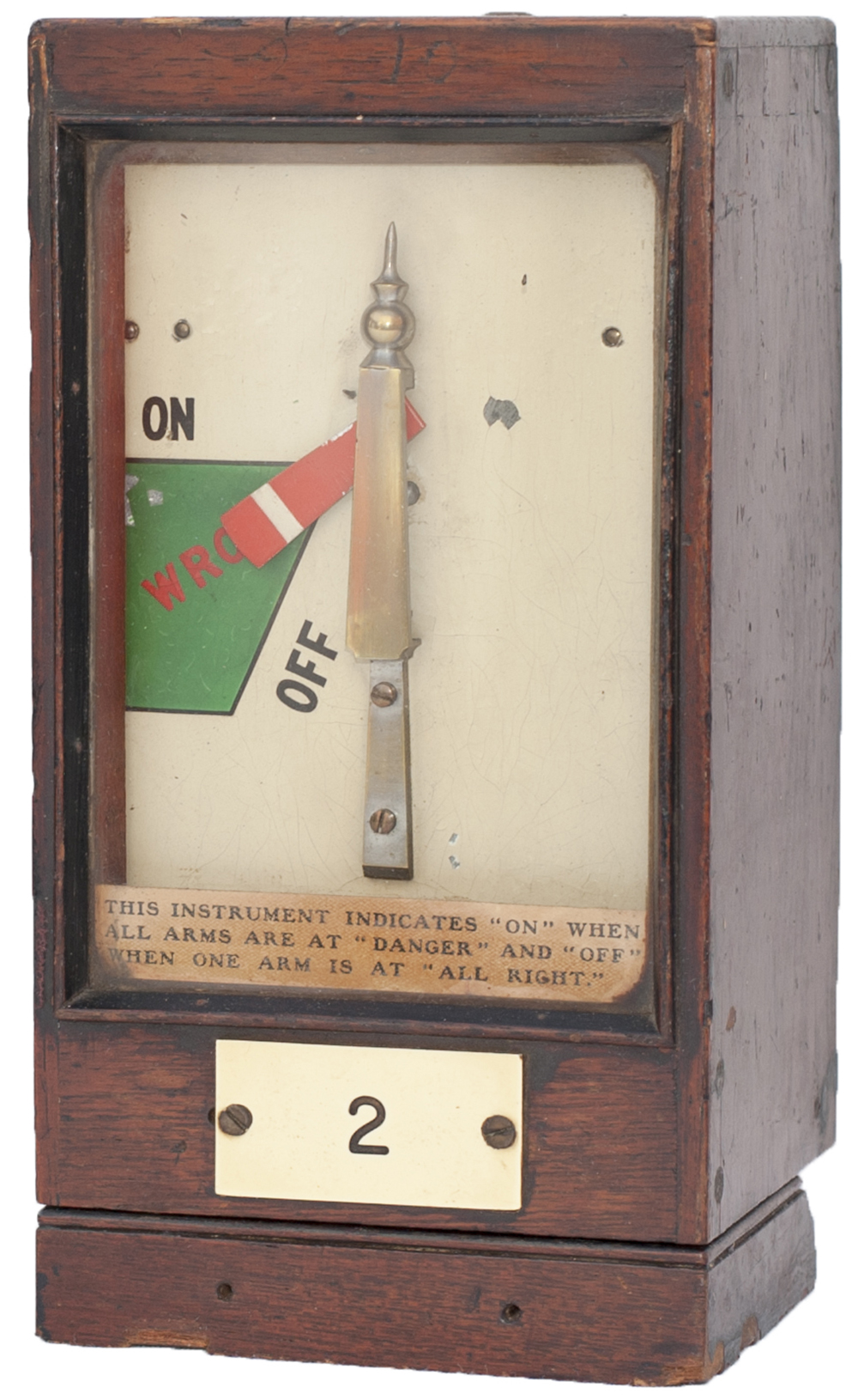 Lot 32 - GWR mahogany cased signal box Home Signal Indicator plated 2 and still retaining its original