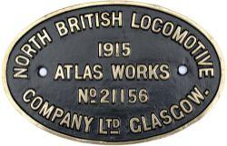 Worksplate NORTH BRITISH LOCOMOTIVE COMPANY LTD GLASGOW No 21156 1915 ex Taff Vale Railway Cameron A