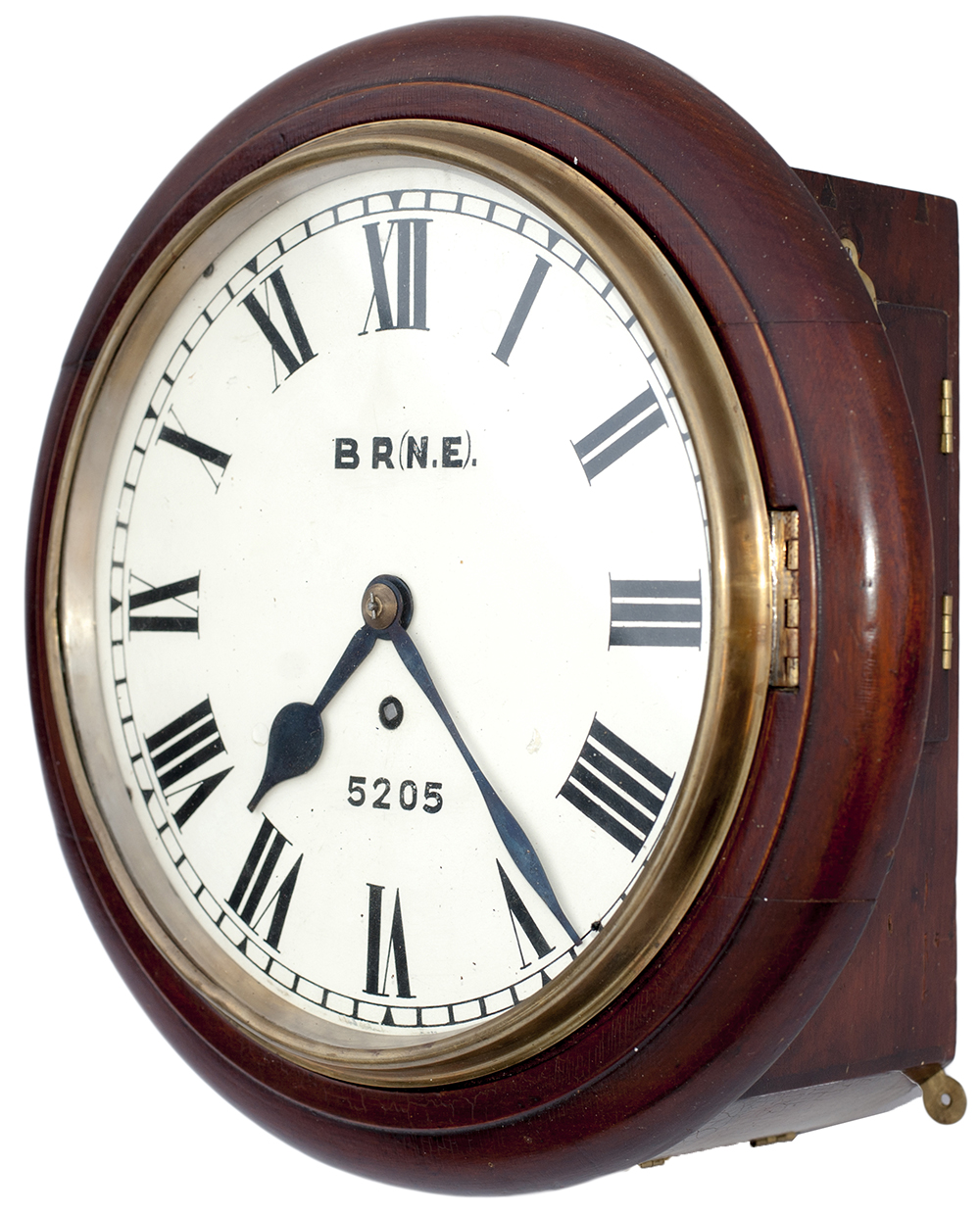 Lot 310 - North Eastern Railway mahogany cased 10 inch fusee clock lettered on the dial BR 5205 with