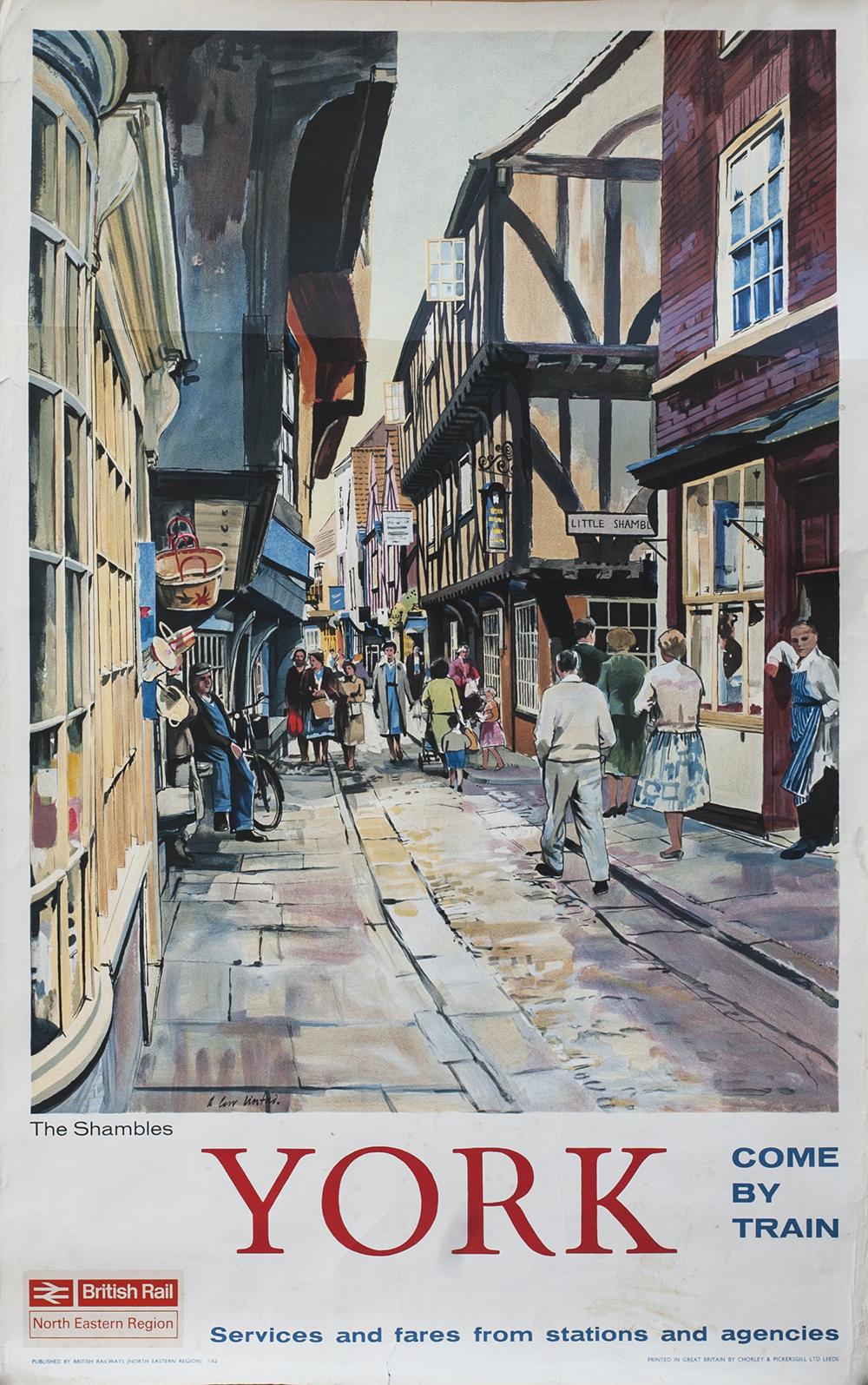 Lot 489 - Poster BR(NE) YORK THE SHAMBLES by A. Carr Linford 1962. Double Royal 25in x 40in. In very good