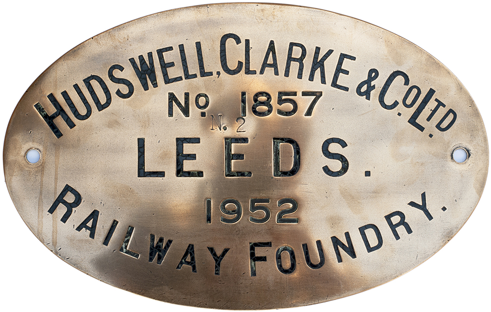 Lot 53 - Worksplate HUDSWELL CLARKE & CO LTD RAILWAY FOUNDRY LEEDS No 1857 1952 ex 0-6-0 T supplied to The