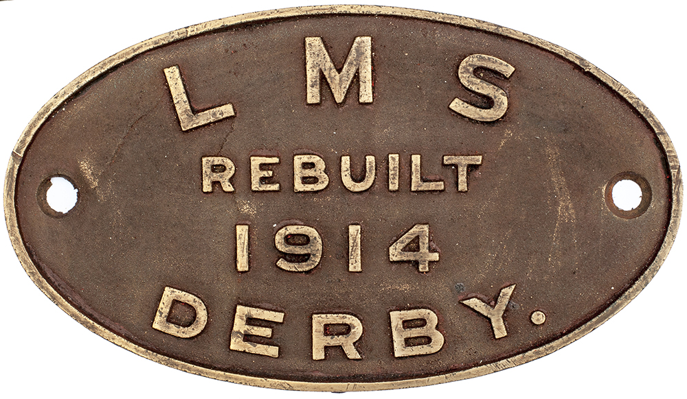 Lot 419 - Worksplate LMS REBUILT 1914 DERBY. From either a Midland Railway 3F 0-6-0T with G5 boilers or 3F 0-