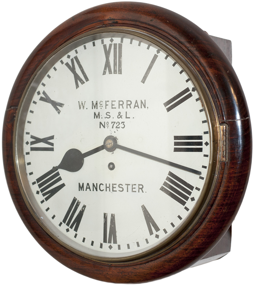 Lot 338 - Manchester Sheffield and Lincolnshire mahogany cased 12 inch fusee clock lettered on the original