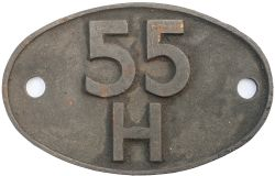 Shedplate 55H Leeds Neville Hill 1960-1966. In as removed condition.