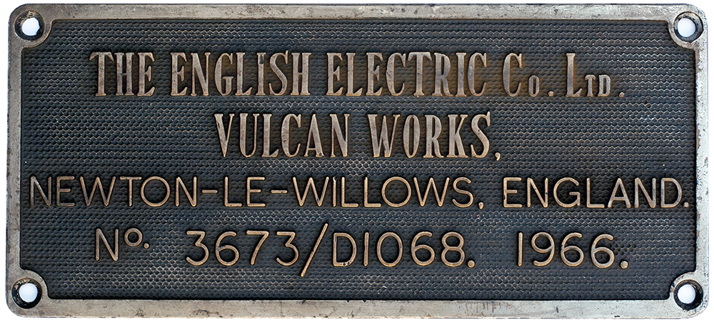 Lot 34 - Diesel worksplate THE ENGLISH ELECTRIC CO LTD VULCAN WORKS NEWTON-LE-WILLOWS ENGLAND No 3673/