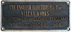 Diesel worksplate THE ENGLISH ELECTRIC CO LTD VULCAN WORKS NEWTON-LE-WILLOWS ENGLAND No 3673/