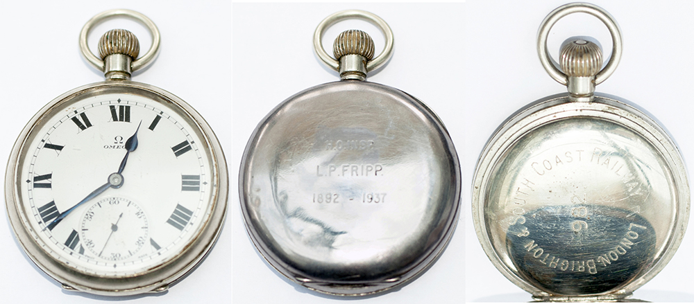 Lot 29 - London Brighton and South Coast Railway nickel cased pocket watch with Swiss Omega top wound and top